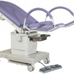 Electrically adjustable gynecologic chair with large wheels model 2087-4